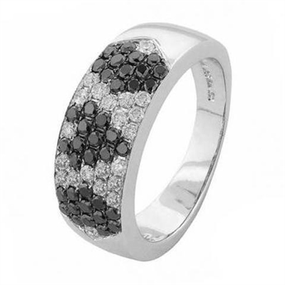 Patterned Black & White Diamond Ring DHR1231BKL8 Image