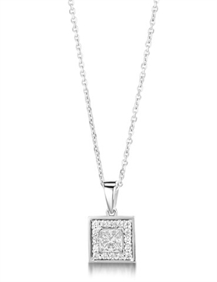 Princess Diamond Single Halo Pendant DHMTP174 Image