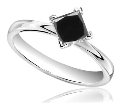 Princess Black Diamond Solitaire Ring DHDOMR1323BLK Image