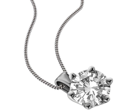 Traditional Round Diamond Solitaire Necklace DHDOMPD249N Image