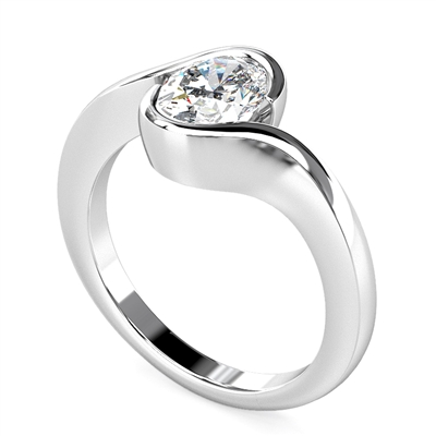 Semi Rubover Oval Diamond Engagement Ring DHMTSS998 Image