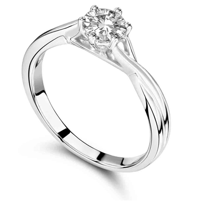 Six Claw Round Diamond Engagement Ring DHRX3011 Image