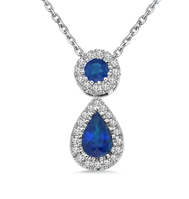 Blue Sapphire and Diamond Halo Drop Necklace DHBC324BSN Image