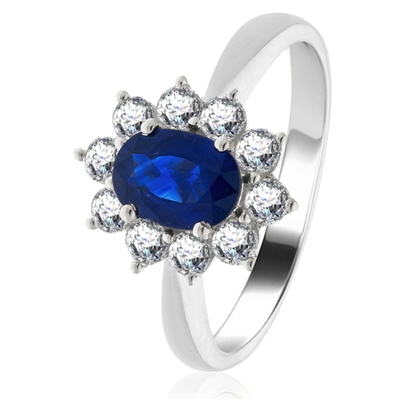 0.80ct Oval Blue Sapphire & Diamond Cluster Ring DHLMJBJR0248BSC Image