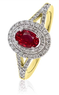 Oval Shaped Ruby & Diamond Halo Ring DHLMJSL6925RYC Image