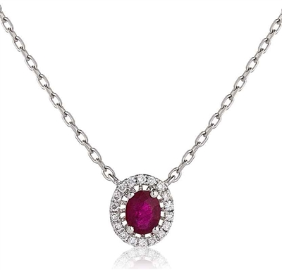 Oval Shaped Ruby & Diamond Pendant DHLMJBJN0023RY Image
