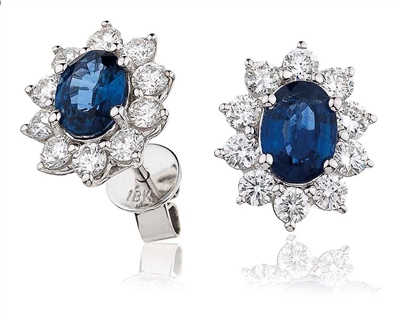 Oval Blue Sapphire & Diamond Cluster Earrings DHLMJBJE0062BSC Image