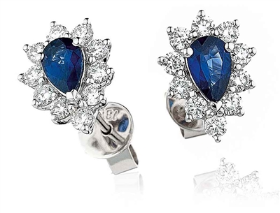 Blue Sapphire & Diamond Cluster Earrings DHLMJBJE0063BSC Image