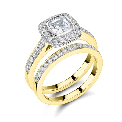 Diamond Shoulder Set Ring With Matching Band DHRX4475W Image
