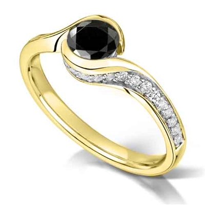 Round Black Diamond Shoulder Set Ring DHMTSS1000BLKA Image