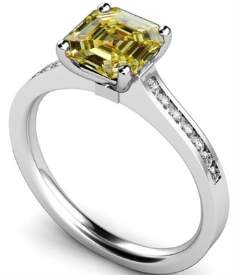 Fancy Yellow Asscher Cut Diamond Shoulder Set Ring DHMTSS722ASYD Image