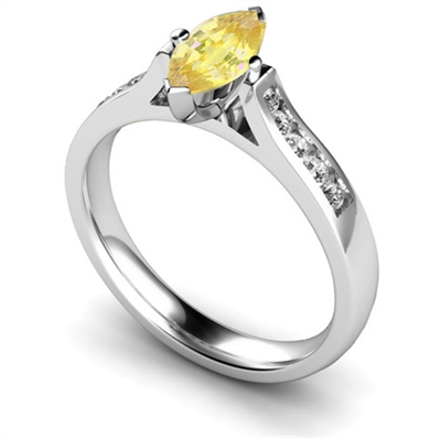 Fancy Yellow Marquise Diamond Shoulder Set Ring DHMTSS918YD Image