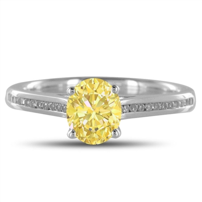 Fancy Yellow Oval Diamond Shoulder Set Ring DHDOMDS08YD Image