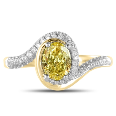 Fancy Yellow Oval Diamond Shoulder Set Ring DHDOMDS09YD Image