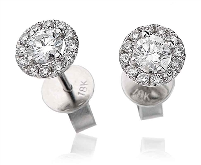 0.50ct Classic Round Diamond Halo Earrings DHLMJDNE0405 Image