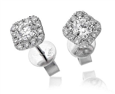 Unique Round Diamond Single Halo Earrings DHLMJDNE0407 Image