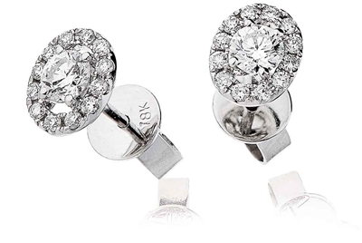 0.60ct Unique Round Diamond Single Halo Earrings DHLMJDNE0408 Image