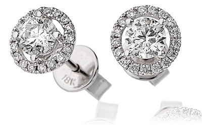0.85ct Unique Round Diamond Halo Earrings DHLMJBJE0029 Image