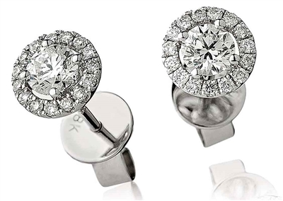 0.60ct Unique Round Diamond Single Halo Earrings DHLMJBJE0033 Image