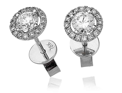0.75ct Unique Round Diamond Single Halo Earrings DHLMJBJE0034 Image