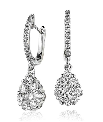 Modern Round Diamond Cluster Drop Earrings DHLMJXYE2786 Image