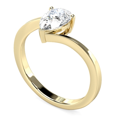 Modern Twist Pear Diamond Engagement Ring DHDOMR1327 Image