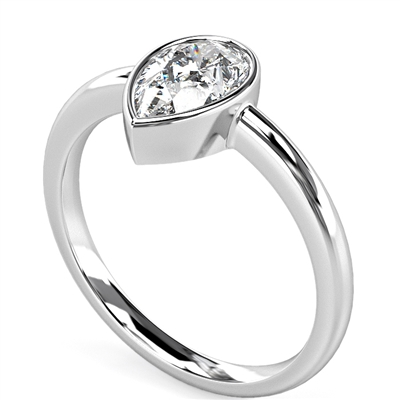 Modern Rubover Pear Diamond Engagement Ring DHDOMR1297 Image