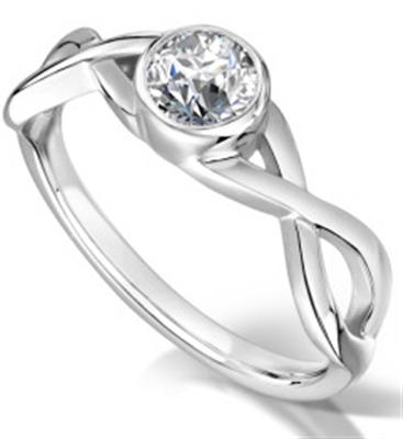 Elegant Infinity Twist Round Diamond Engagement Ring DHMTSS1029 Image
