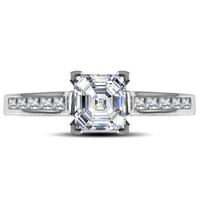 Asscher Diamond Shoulder Set Ring DHRX3092AS Image