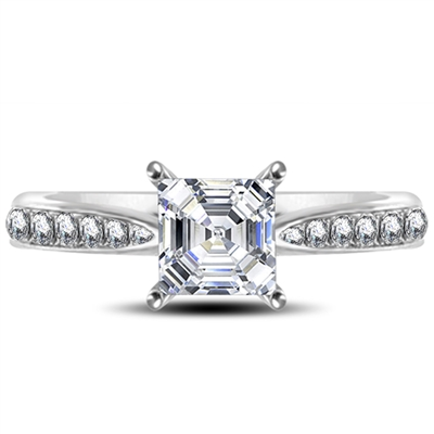 Asscher Diamond Shoulder Set Ring DHRX4456AS Image