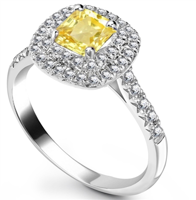 Fancy Yellow Cushion Diamond Halo Shoulder Set Ring DHRX4559YD Image