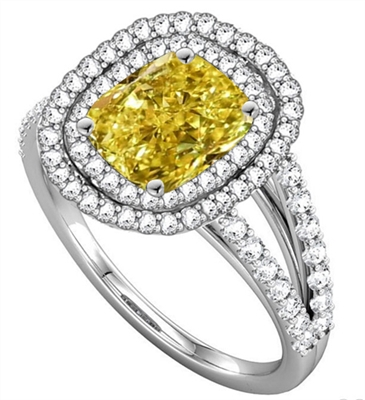 Fancy Yellow Radiant Diamond Halo Shoulder Set Ring DHNDR007RADYD Image