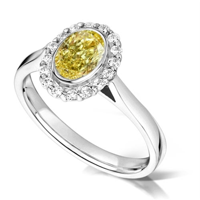 Fancy Yellow Oval Diamond Shoulder Set Ring DHMTC319YD Image