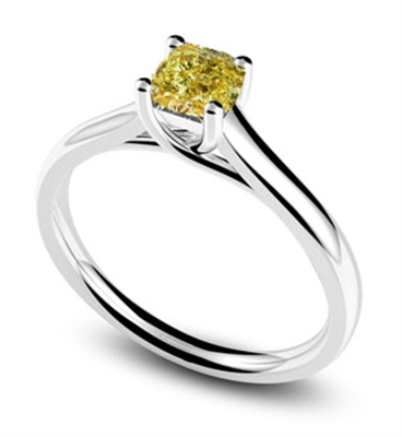 Elegant Fancy Yellow Cushion Diamond Engagement Ring DHDOMR1136YD Image