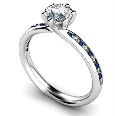 Blue Sapphire and Round Diamond Engagement Ring DHMTSS876BSS Image
