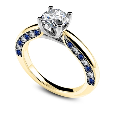 Blue Sapphire and Round Diamond Engagement Ring DHDOMDSR33BSS Image