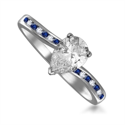 Blue Sapphire and Pear Diamond Engagement Ring DHRX3973BSS Image