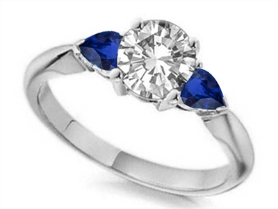 Round Diamond & Blue Sapphire Trilogy Ring DHTRI3001BSS Image