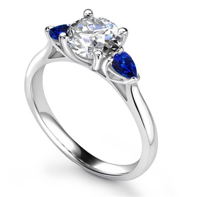 Round Diamond & Blue Sapphire Trilogy Ring DHRX4831BSS Image
