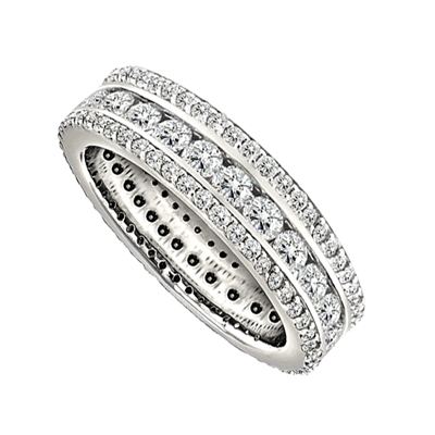 2.50CT Triple Row Diamond Full Eternity/Dress Ring DHJXE01071SOFETCRND Image