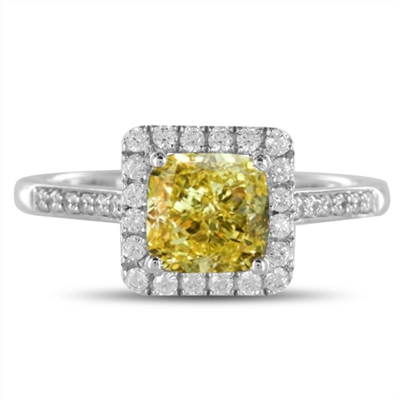 Fancy Yellow Cushion Diamond Shoulder Set Ring DHDOMDSC44CUYD Image