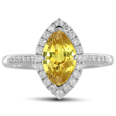 Fancy Yellow Marquise Diamond Halo Shoulder Set Ring DHDOMDSC39YD Image