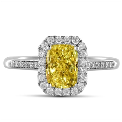 Fancy Yellow Radiant Diamond Halo Shoulder Set Ring DHDOMDSC40RAYD Image