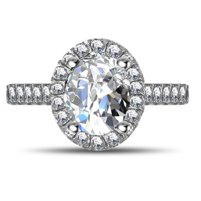 Oval Diamond Single Halo Shoulder Set Ring DHRX4826 Image