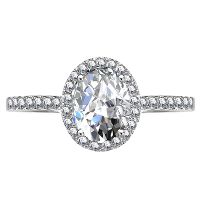 Oval Diamond Single Halo Shoulder Set Ring DHRX5010 Image
