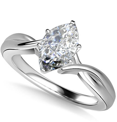 Modern Intertwined Marquise Diamond Engagement Ring DHAN516MRQ Image