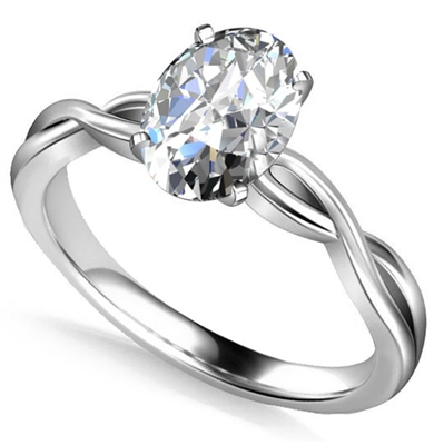 Infinity Love Swirl Oval Diamond Engagement Ring DHAN514OV Image