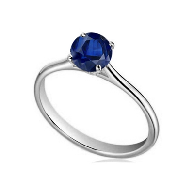 Classic Round Blue Sapphire Solitaire Ring DHDOMR1141RBSC Image