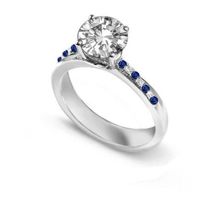 Blue Sapphire and Round Diamond Engagement Ring DHDOMDSR32BSS Image