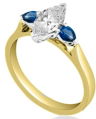 Marquise Diamond & Blue Sapphire Trilogy Ring DHMT03375BSS Image